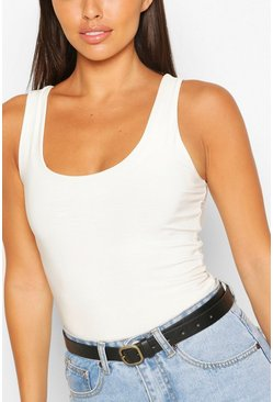 Black Smooth Pu Textured Buckle Boyfriend Belt