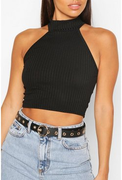 Black Eyelet Detail Ring Buckle Belt