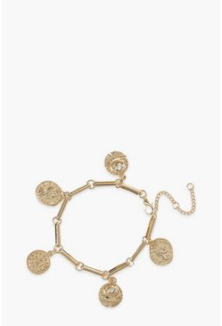 Gold Detailed Coin Charm Bracelet