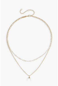 Layered Horn Detail Chain Necklace, Gold