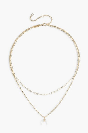 Gold Layered Horn Detail Chain Necklace