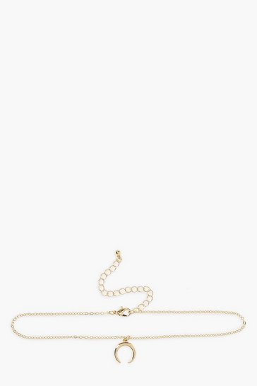 Gold Chain Choker With Horn Charm Detail