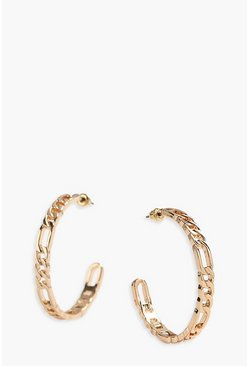 Gold Linked Chain Detail Hoops