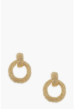 Gold Chunky Textured Round Statement Earrings