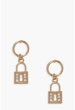 Gold Diamante Padlock Hoop Earrings