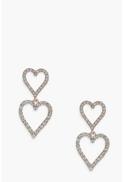 Silver Diamante Heart Drop Earrings