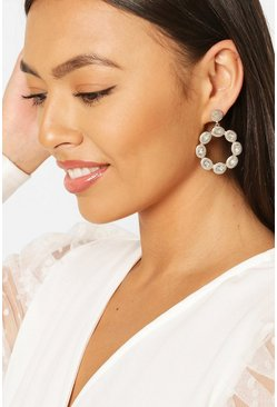 Gold Round Crystal Statement Earrings