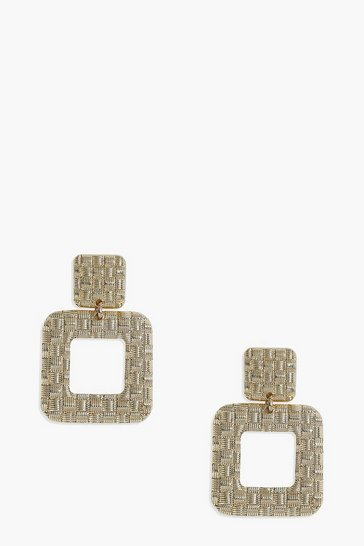 Gold Textured Weave Statement Earrings