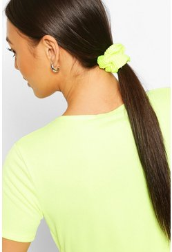 Multi Neon Pleated 2 Pack Scrunchies