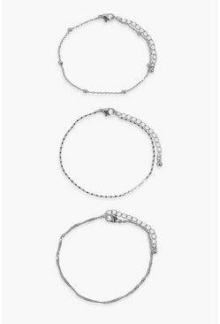 Silver Chain Detail 3 Pack Anklets