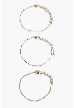 Gold Chain Detail 3 Pack Anklets