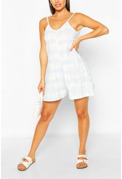 Baby blue Tie Dye Cami Swing Jersey Playsuit