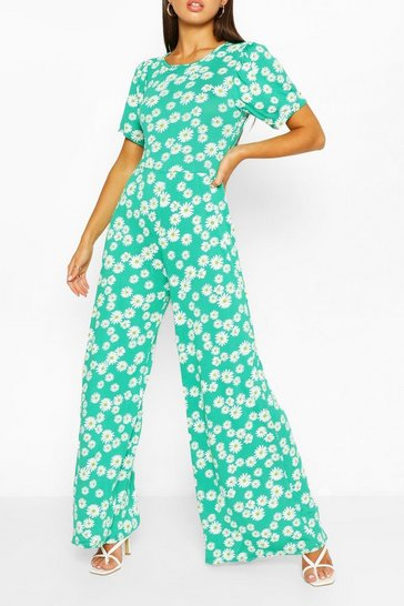 Green Daisy Print Puff Sleeve Wide Leg Jumpsuit