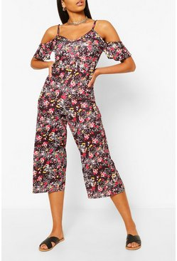 Black Mixed Floral Spot Print Cold Shoulder Jumpsuit