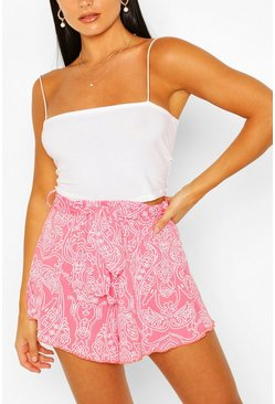 Paisley Print Belted Flippy Short, Coral