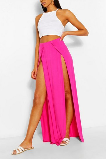 Hot pink Split Front Jersey Maxi Skirt