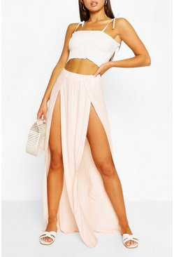 Nude Split Front Jersey Maxi Skirt