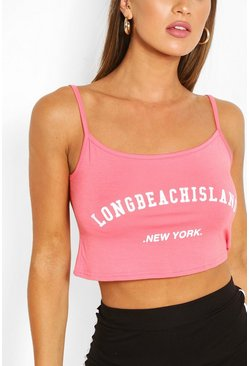 Coral Slogan Cami Crop Top