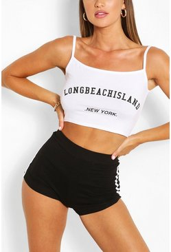 White Slogan Cami Crop Top