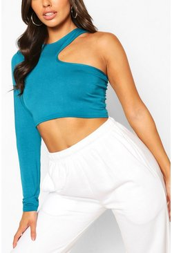 Teal Långärmad crop top med cut-outs
