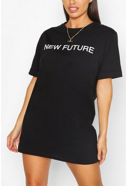 Black New Future Slogan T-shirt Dress