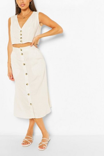 Ivory Button SleevelessTop & Midi Skirt Co-ord Set