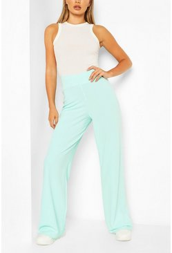 Mint High Waist Basic Crepe Wide Leg Trousers
