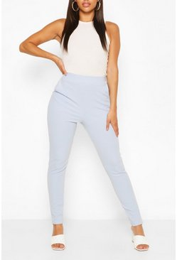 Baby blue Pastel Pocket Detail Casual Skinny Trousers