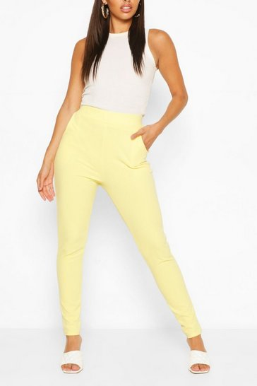 Lemon Pastel Pocket Detail Casual Skinny Trousers