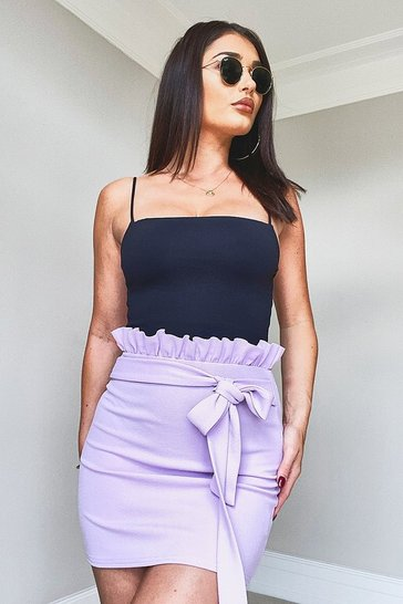 Lilac Paperbag Belted Jersey Mini Skirt