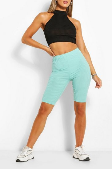 Mint High Waist Ribbed Cycling Short