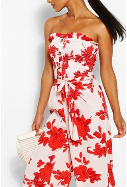 Ivory Floral Strapless Shirred Bodice Jumpsuit