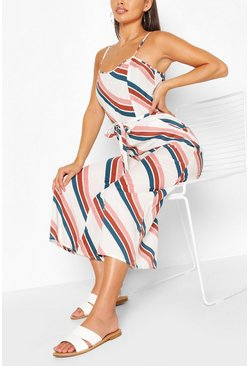 Ivory Stripe Square Neck Strappy Culotte Jumpsuit