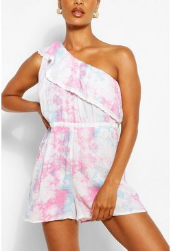 Ivory Pastel Tie Dye One Shoulder Lace Trim Playsuit