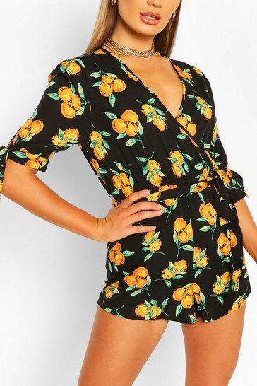 Black Citrus Print Wrap Playsuit