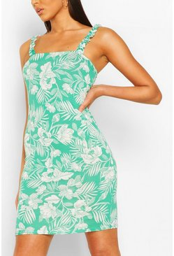 Green Jungle Print Sundress