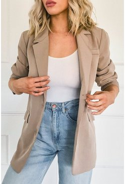 Stone Oversized Mock Horn Button Blazer