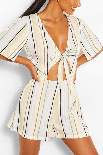 Ivory Stripe Tie Front Playsuit