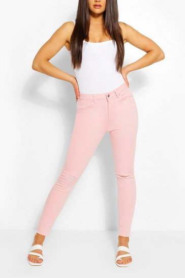 Stretch Pink Distressed Skinny Jean
