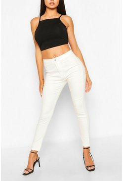 Super Stretch High Waist Ankle Grazer Jeans, Ivory