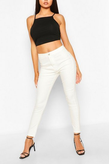 Ivory Super Stretch High Waist Ankle Grazer Jeans