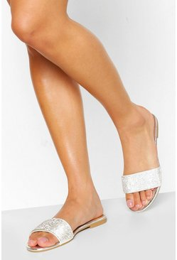Silver Wide Fit Diamante Sliders
