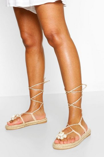Beige Pearl Trim Wrap Up Espadrille Sandals