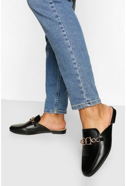 Black Chain Front Mule Loafer