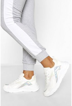 White Double Lace Chunky Trainers
