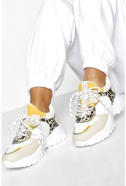 Beige Animal Print Chunky Trainers