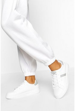 Silver Side Stripe Basic Trainers