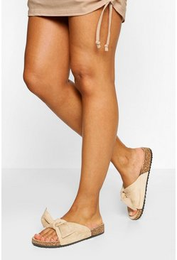Nude Bow Single Strap Footbed Slider