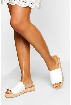 White Scallop Edge Single Strap Espadrille Slider