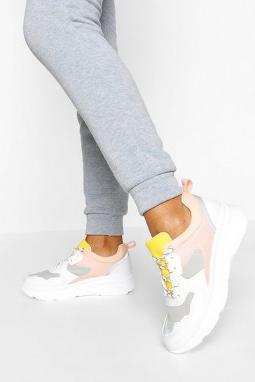 Pink Colourblock Chunky Trainers